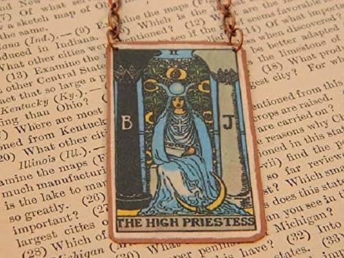 Amazon Com Tarot Necklace High Priestess Tarot Card Handmade