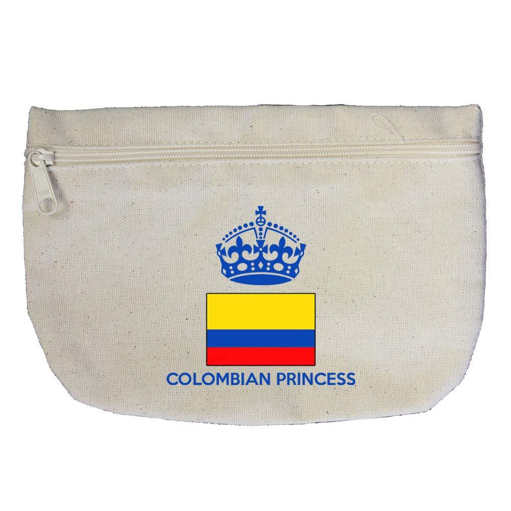 Colombian Princess Crown Cotton Canvas Makeup Bag Zippered Pouch