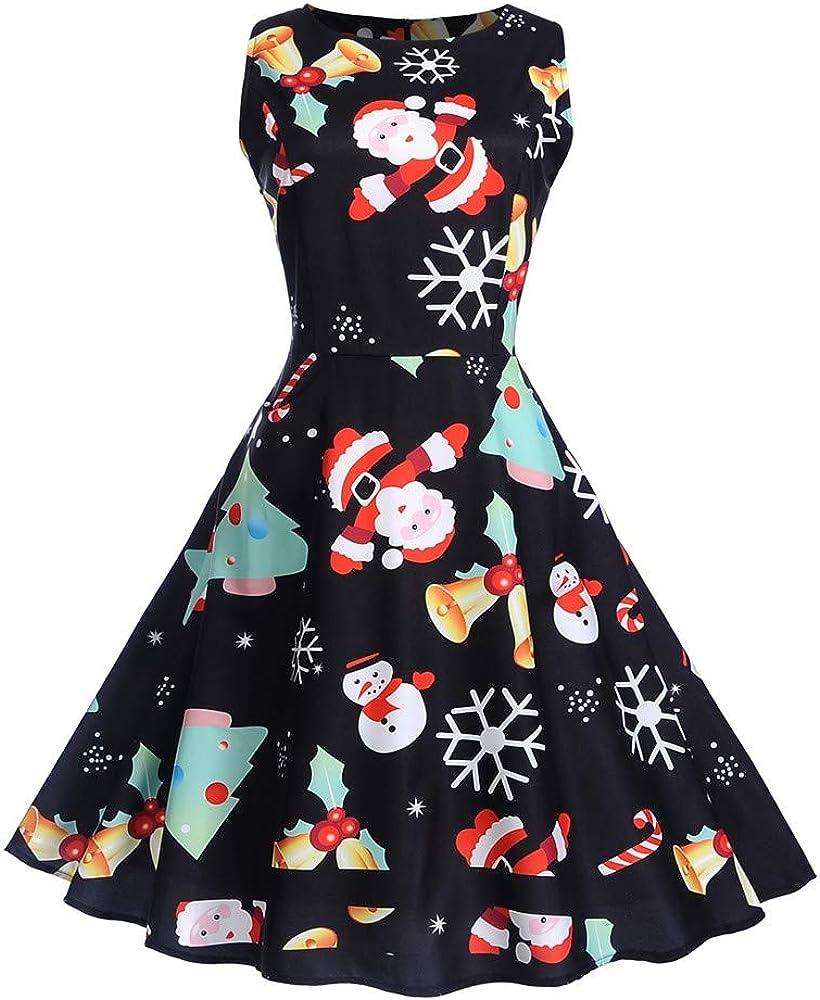 Christmas Dress,Women Cocktail Ball Gown Dress Sleeveless Pin Up Swing Dress