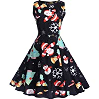 Qootent Women Christmas Vintage Print Pendulum Dress Lady Sleeveless Xmas Dress