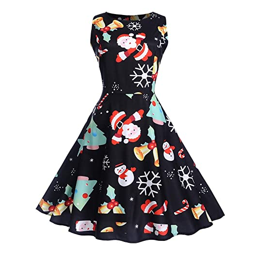 852ef0eedbd8 ManxiVoo Women's Christmas Sleeveless Midi Dress Santa Claus Print Xmas  Party Swing Dress (S,