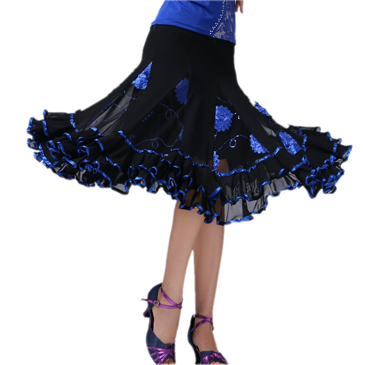 CISMARK Ballroom Latin Salsa Tango Dance Skirt for Women One Size Blue by CISMARK