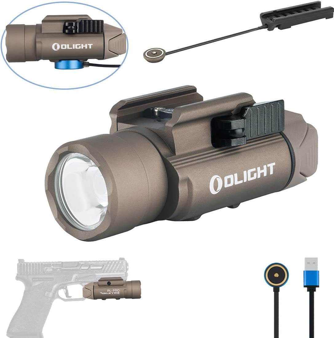 OLIGHT PL-PRO Valkyrie 1500 Lumens NW LED Magnetic Rechargeable Tactical Flashlight with Magnetic Remote Pressure Switch,Built-in Battery and SKYBEN Battery Case