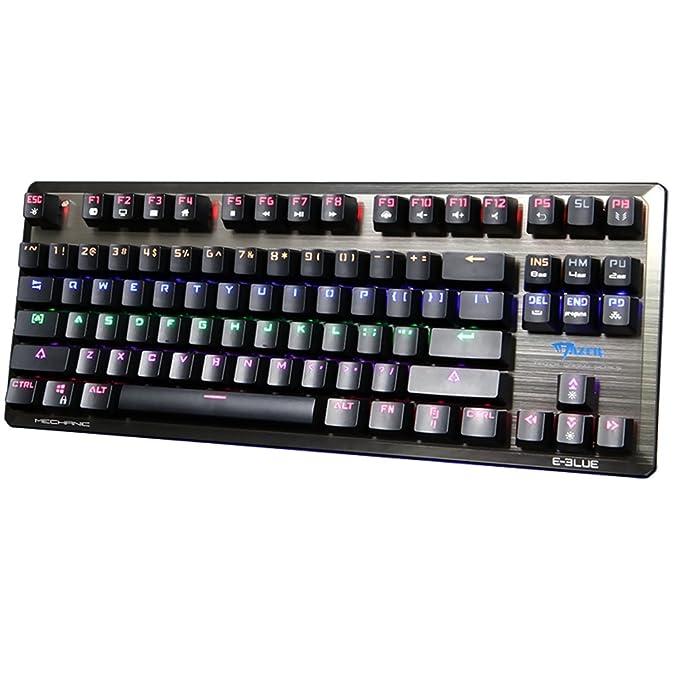 GranVela K727 teclado mecánico 87 Clave Multicolor retroiluminación USB Wired Gaming Teclado con Color azul interruptores - -Negro: Amazon.es: Informática