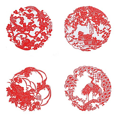 (Shayier China 's Intangible Cultural Heritage Chinese Handmade Paper-cut (Auspicious Flowers & birds))