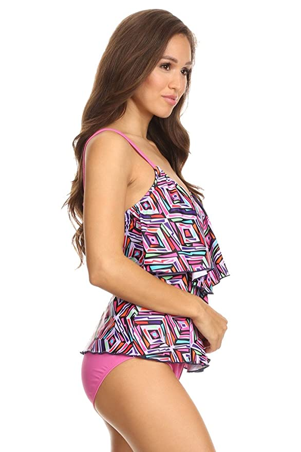 0e0994d7a9 Women Two-Tier Ruffle Tankini w/High Waist Bottom - Made in USA at Amazon  Women's Clothing store: