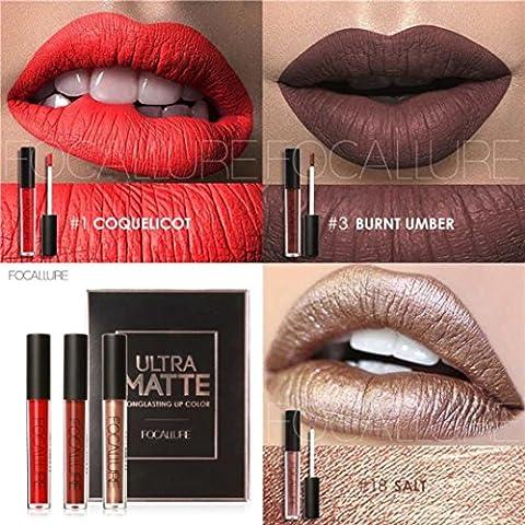 CYCTECH® New Fashion Matte Lipstick Cosmetic Sexy Lip Metallic Lip Gloss Kit 3pcs/set (KIT2)
