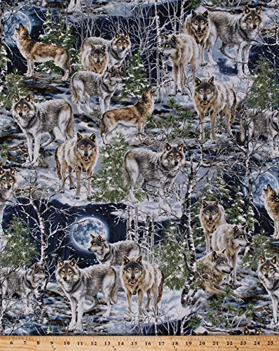 Cotton Wolf Wolves Winter Animals Cotton Fabric Print by the Yard Dona-C4889 (Wolf Fabric)