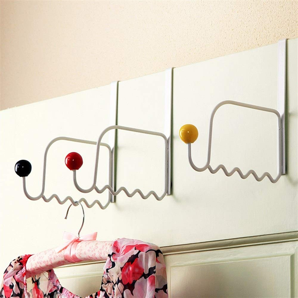 Chenjinxiang01 Clothes Hanger Behind The Door, Storage Door Rear Hanger, Nail-Free Hook, Multi-Color Ceramic knob Hook (3 Packs) (Color : White)