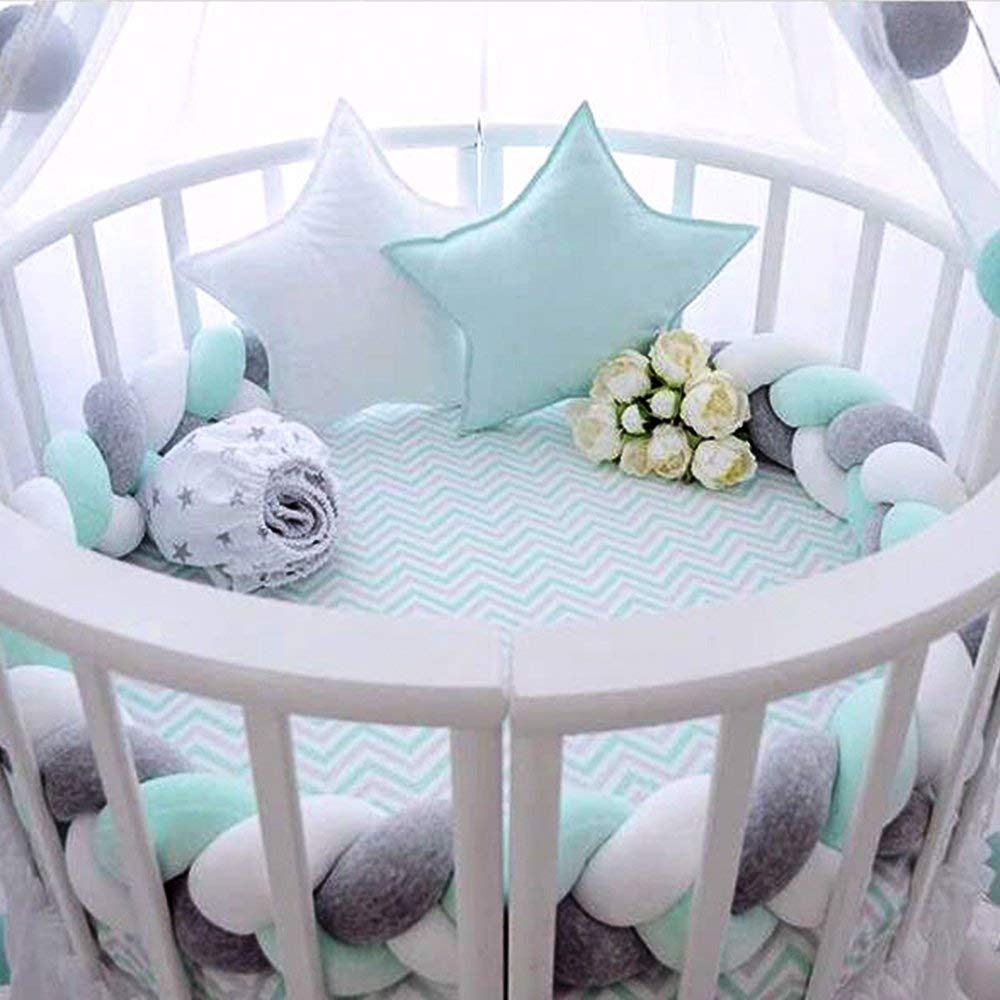 Pure White, 2 Meters Fashion Nursery Cradle Decor For Baby Toddler and Childern 2 Meters Baby Crib Bumper Wonder Space Soft Knot Plush Pillow