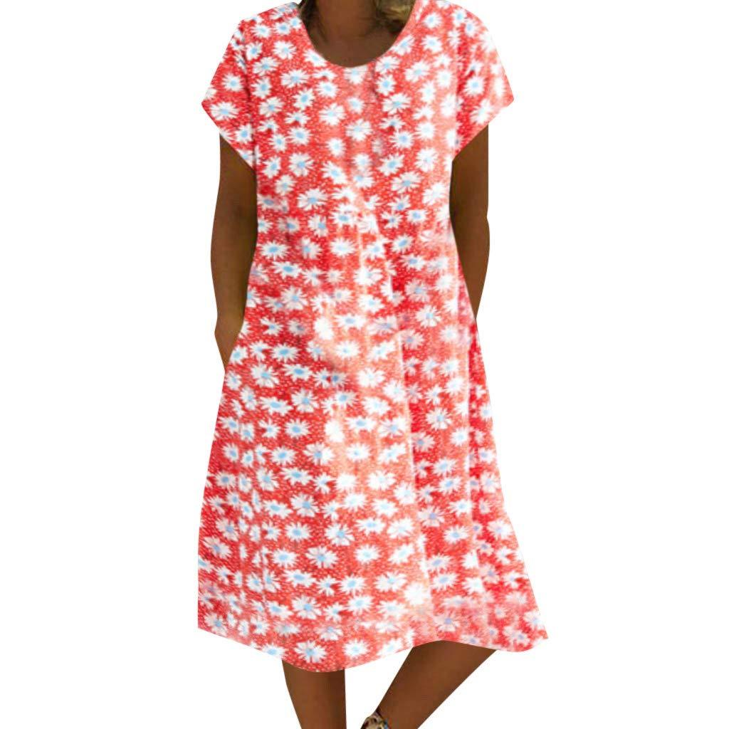 Women Summer Retro Loose Boho Print Dress Linen Ethnic Shirtdress Casual V-Neck Ladies Mini Dress Red