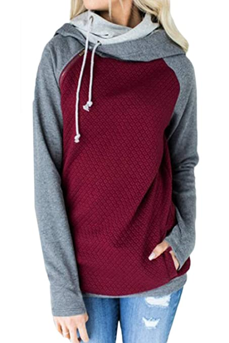 HhGold Sudadera de Mujer Casual Plus Size Colorblock Cotton Sweatshirts (Color : Vino Rojo,