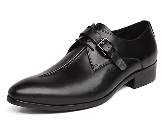 Men's Classic Modern Leather Oxford Buckle Gradient Toecap Dress Shoes Wine-Red 7 US