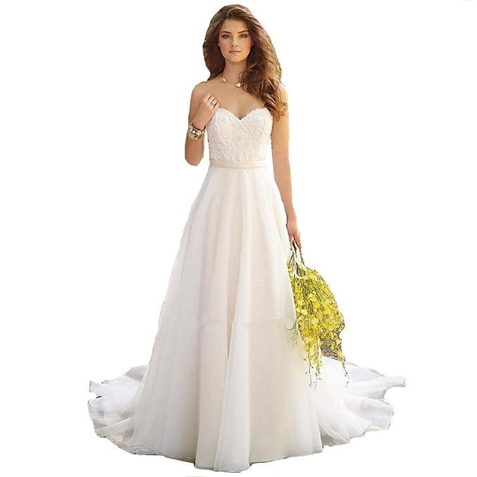 VIPbridal Hiffon bordado playa una línea de vestido de novia (44, Marfil)