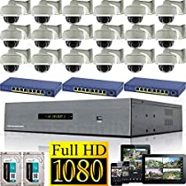 USG 25 Channel 1080P PoE IP CCTV Kit with 18 Cameras: 18x 1080P IP PoE 2.8-12mm Dome with Bracket Cameras + 1x 25 Channel 1080P NVR + 3x 9 Port PoE Switches + 2x 3TB HDD High Definition Video Surveillance For Your Home or Business