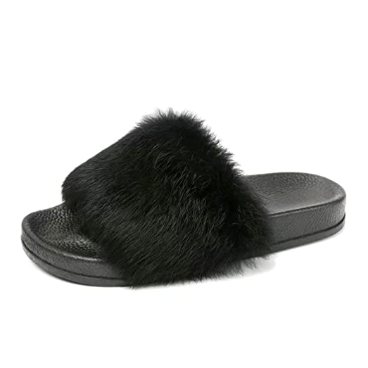 Women Flat Slipper Inkach Stylish Girls Fluffy Faux Fur Flip Flop Sandal Sliders Shoes