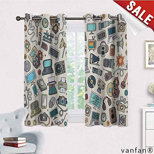 Big datastore Printed Grommet Drapes,Doodle,Complation of Various Office Gadgets Recorder Tv Laptop Monitor Tablet Switch Mouse,for Girl's Room,Multicolor,W72 Xl45