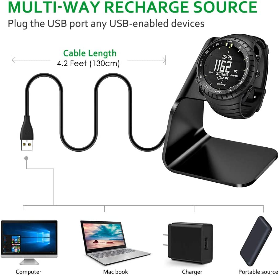 Suunto Spartan Sport Smartwatch Premium Aluminum Charging Stand Cable Cord Station Cradle Base Attached 4.2ft USB Cable Accessories for Suunto 9 KIMILAR Compatible Suunto 9 Charger Dock