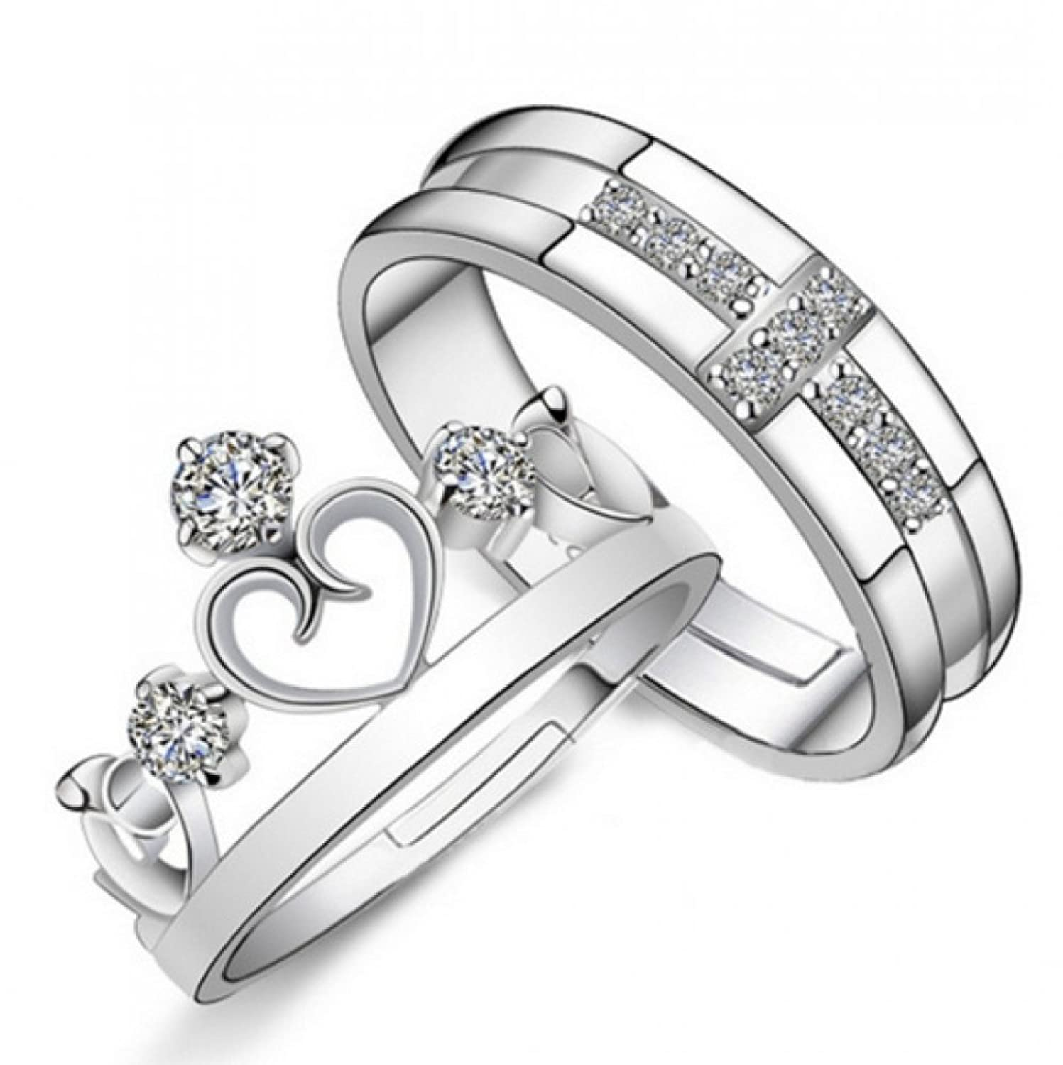 19 Likes Love Gifts Silver Metal Alloy Size Adjustable Finger Rings For Couples Women Adiva Amazonin Jewellery