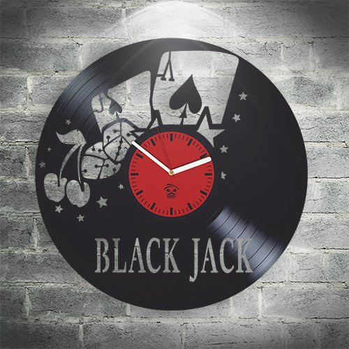 Kovides Black Jack Poker Game Vinyl Wall Clock
