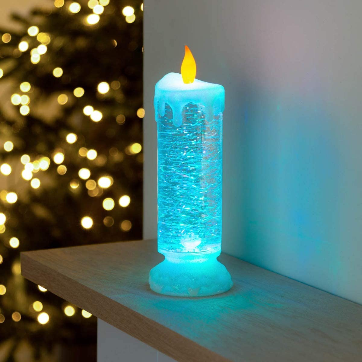 Christow Colour Changing Candle Light Christmas Glitter Water Spinner Flickering Led Amazon Co Uk Lighting