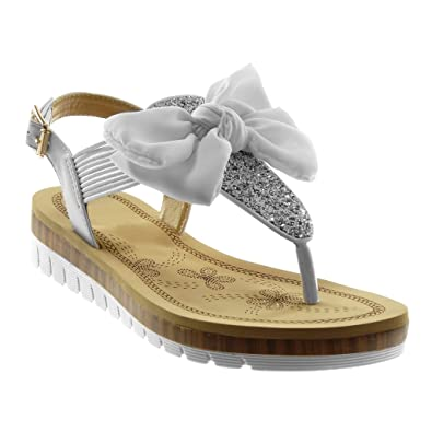 2febdfb800c2b Angkorly - Chaussure Mode Sandale Tong lanière Cheville Semelle Basket salomés  Femme Noeud Pailettes élastique Talon
