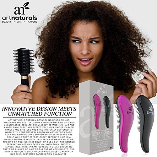 Art Naturals Detangling Hair Brush 2pc Set, Pink & Black - Glide the Detangler Through Tangled Hair - Best Brush / Comb for Women, Girls, Men and Boys - Use in Wet and Dry Hair - Top Detangling Brush