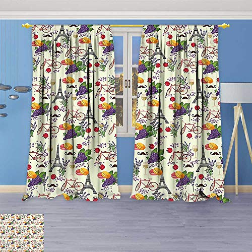 Philiphome Pattern Decor Artistic Window Curtain by, Themed Paris Must Have Macarons Wines Grapes Bikes Berries Eiffel Art Print Multicolor,Living Room Bedroom Decorations (Butler Wine Grape)