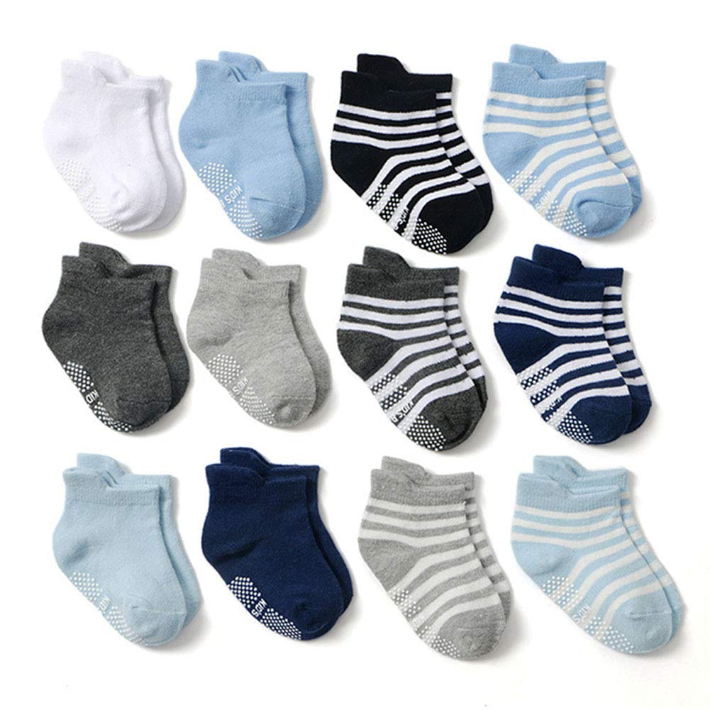 0-1 Years Pack of 12 Boys Z-Chen Kids Baby Boys Girls Anti-Skid Cotton Socks Non-Slip