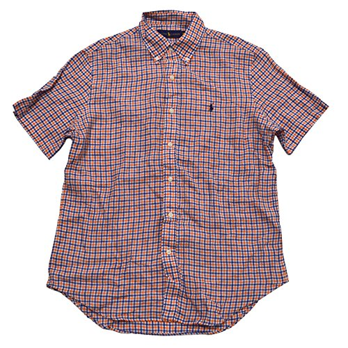 Polo Ralph Lauren Men's Classic Fit Linen Shirt (L, Orange Blue - Lauren Orange Ralph Blue And Polo