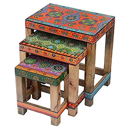Nest Of Three Floral Design Hand Painted Tables Indian Design Fair Trade