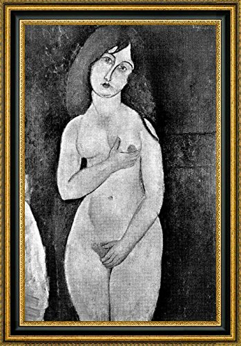 """Standing Female Nude by Amedeo Modigliani - 19"""" x 28"""" Framed Canvas Art Print - Ready to Hang"""