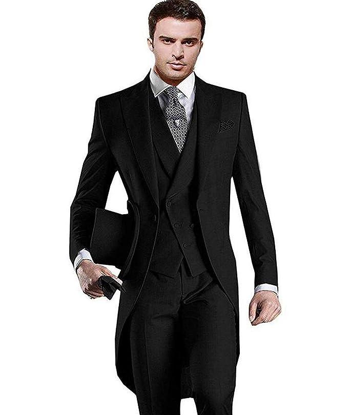 a41a8ff92d1b9 JYDress Mens Suit Premium Tail Tuxedo 3pc Tailcoat Suit in Gray Black Suit  Jacket, Vest, Suit Pants