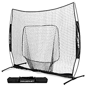 PowerNet 8x8 XLP PRO Net with One Piece Frame (Black) | Huge Baseball Softball Hitting Pitching Area | Great for Teams | Batting Fielding Portable Backstop | Non-Tip Weighted Base | 8 x 8 (64SqFt)