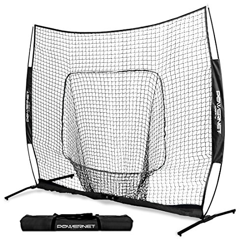 PowerNet 8x8 XLP PRO Net with One Piece Frame (Black) | Huge Baseball Softball Hitting Pitching Area | Great for Teams | Batting Fielding Portable Backstop | Non-Tip Weighted Base | 8 x 8 (64SqFt) ()
