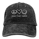 ONE-HEART HR Peace Love World Baseball Caps Denim Hats For Men Women
