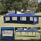 Belleze 10' x 30' ft Large Heavy Duty Outdoor Canopy Tent Wedding Party Gazebo w/Shade Side Wall Window Backyard, Blue