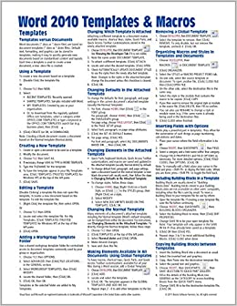 Microsoft Word 2010 Templates | Microsoft Word 2010 Templates Macros Quick Reference Guide Cheat