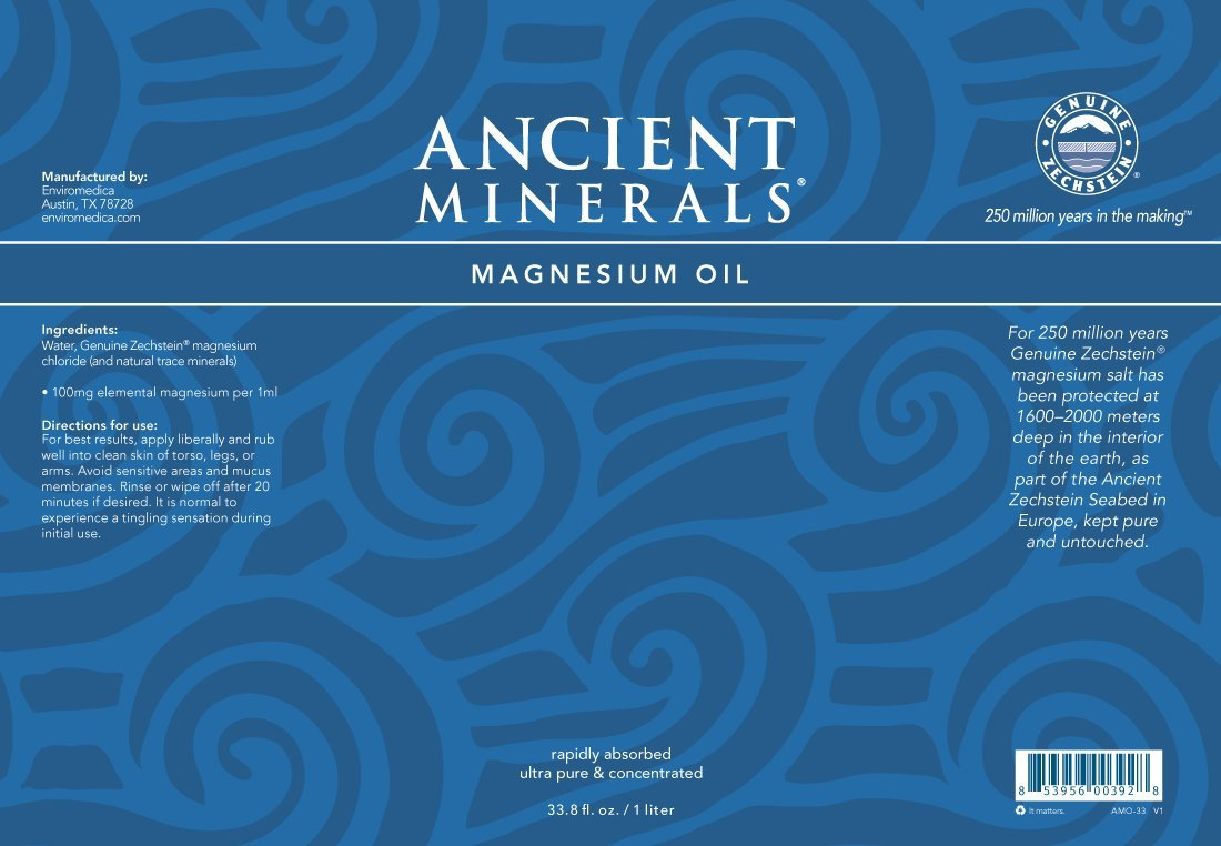 Ancient Minerals Magnesium Oil Spray Bottle of Pure Genuine Zechstein Magnesium Chloride - Topical Magnesium Supplement for Skin Application and Dermal Absorption (33.8oz)