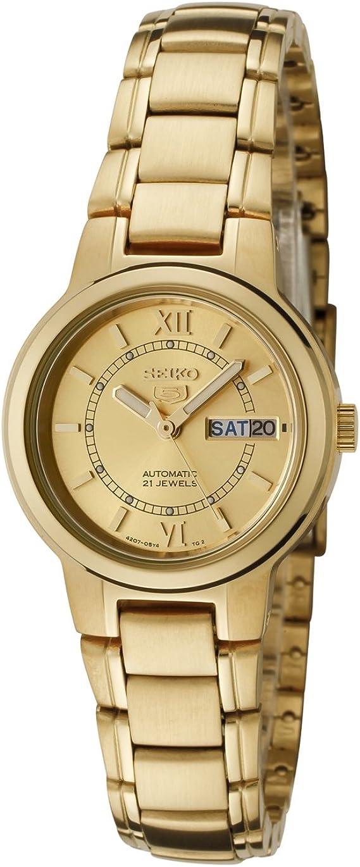 Amazon.com: Reloj automático Seiko 5 para mujer, tono dorado ...