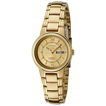 7d19d3825 Image Unavailable. Image not available for. Color: Women's Gold Tone Seiko  5 Automatic Dress Watch