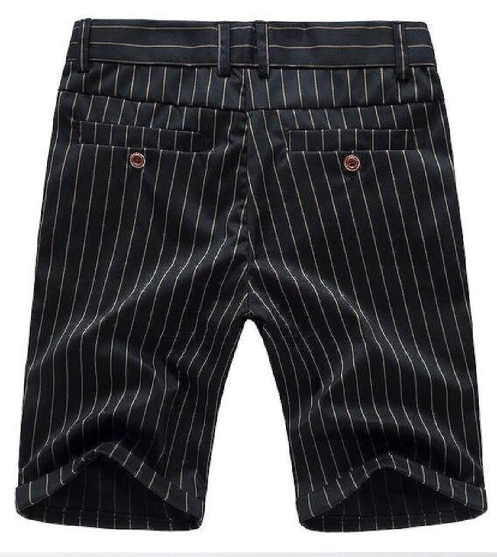KLJR Men Stripe Print Business Casual Regular Fit Board Shorts Beach Shorts