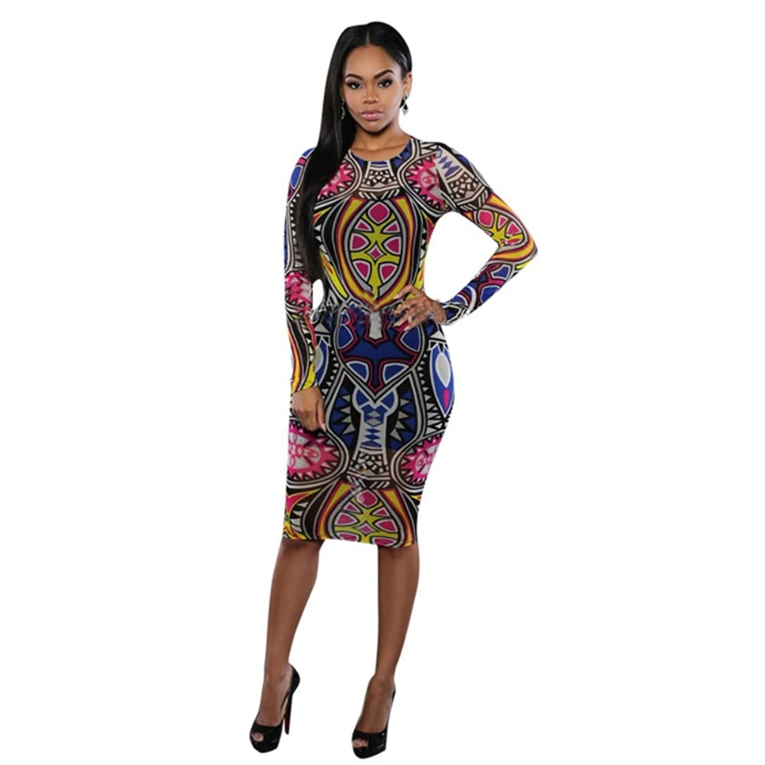 Comemall Women Bandage Bodycon Long Sleeve Print Club Party Cocktail Dresses