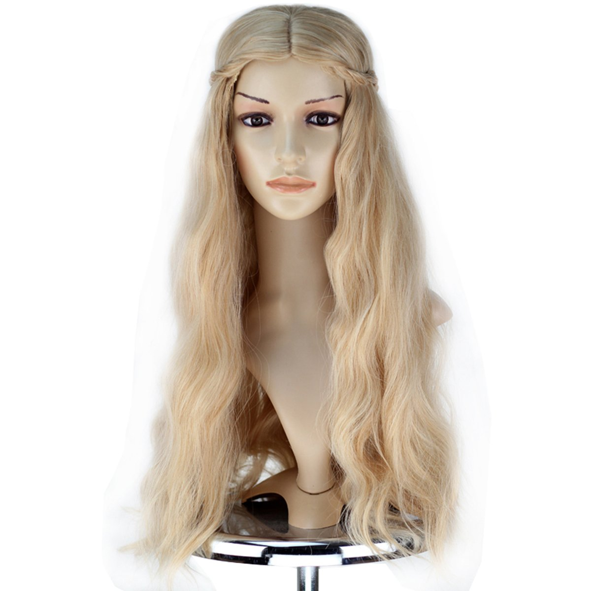 Girl Adult Princess Wig Long Wavy Mixed Blonde with Braid Cosplay Costume Wig