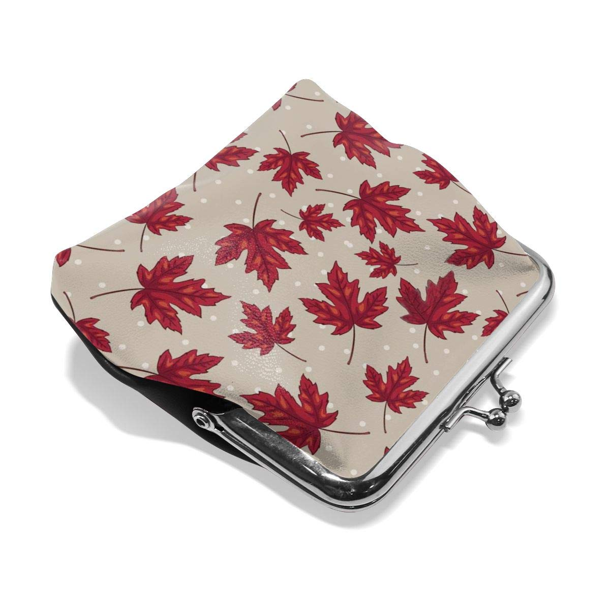Girl Red Maple Leaf Buckle Coin Purses Mini Size Wallet