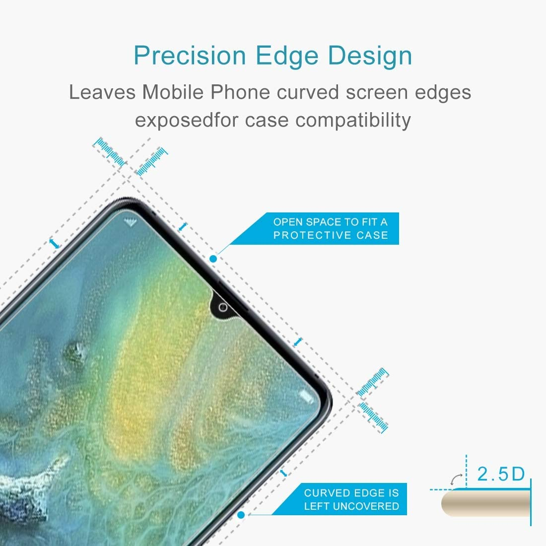 100 PCS 0.26mm 9H 2.5D Transparent Transparent Tempered Glass Film for Huawei Mate 20 X Clear YINZHI Screen Protector Film
