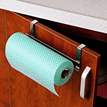 Stainless Steel Kitchen Paper Hanger - Paper Towel Holder - Kitchen Paper Hanger Bathroom Towel Roll Stand Organizer Rack for Under Cabinet and Over the Door