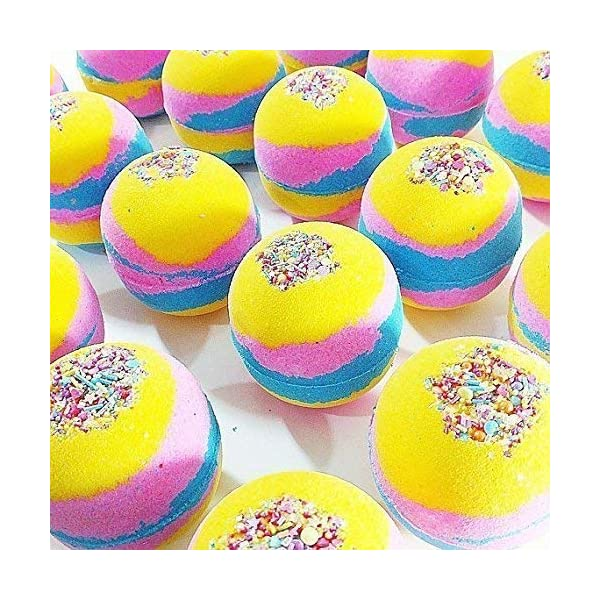 Unicorn bath bomb Colorful Rainbow Bubble Spa Fizzies 6 oz round 4