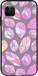 Okteq Clear TPU Protection and Hybrid Rigid Clear Back Cover Compatible with Huawei Nova 7i - pink purple dimons