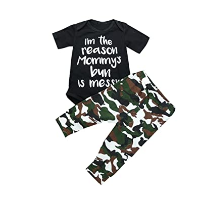 Lavany 2PC Toddler Outfits Infant Girl Boys Camouflage Clothes For 0-24 Months